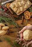 Cozy Christmas woman baking Christmas Cookies cozy rustic background royalty free stock photo