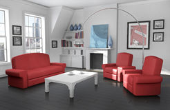 Cozy city apartment. Modern interior; high quality 3D rendered image Stock Images