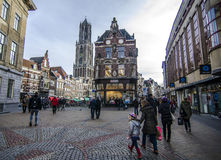 Cozy city life netherlands, utrecht. Dutch city during the weekend day with people enjoying beautiful autumn day Stock Photos