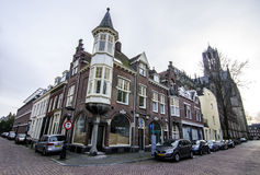 Cozy city street in netherlands, utrecht. Dutch city during the weekend day with people enjoying beautiful autumn day Stock Photography