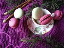 Cozy colorful macaroons in province style. Macaroons in pretty colors and wool yarn on pink knitted background Royalty Free Stock Images
