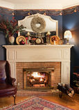 Cozy Corner Fireplace, HDR Royalty Free Stock Photos