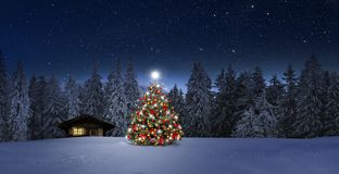 Free Cozy Cottage In Wintertime At Night Royalty Free Stock Photos - 163267558
