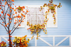 Cozy country house with blue walls and white window Stock Image
