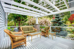 Cozy countryside house walkout deck Stock Photo