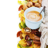 Cozy cup of coffee and autumn leaves Stock Photo