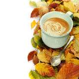 Cozy cup of coffee and autumn leaves Royalty Free Stock Image
