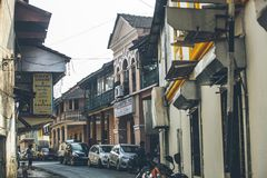 Cozy cute little street in the center of Panaji city in the Asia royalty free stock image