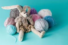 Cozy doll with colored clew Stock Image