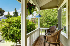 Cozy entrance porch with comfort sitting area Royalty Free Stock Images