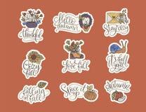 Cozy fall vector lettering set. Hand drawn autumn quotes. Cozy fall vector lettering set. Hand drawn autumn quotes with hand drawn cartoon doodle illustrations stock illustration
