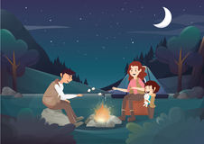 Cozy family camping in the night illustration. royalty free illustration