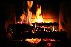 Cozy Fire. A warm, cozy fire in the winter Royalty Free Stock Images
