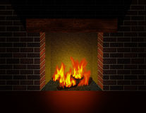 Cozy fireplace. Fire burning in cozy fireplace Stock Image