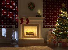 Cozy fireplace decorated for xmas. Cozy decorated christmas fireplace at night with tree, presents and santa claus silhouette on the wall Royalty Free Stock Images