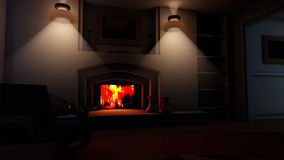 Cozy Fireplace Living Room. Small, cozy and stylish living room corner in the night with blue light from the outside and warm light on the inside with fireplace Royalty Free Stock Image