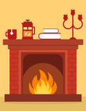 Cozy fireplace on room. Cartoon red brick fireplace on home with burning fire Royalty Free Stock Image