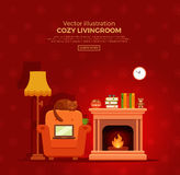 Cozy fireplace room interior. Colorful vector cozy fireplace room interior in cartoon flat style. Fireplace, armchair, lamp, cat, laptop, tea. Comfortable cozy Royalty Free Stock Images
