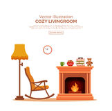 Cozy fireplace room interior. Colorful vector cozy fireplace room interior in cartoon flat style. Fireplace, rocking chair, lamp, books, tea. Comfortable cozy Royalty Free Stock Photo