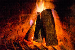 A cozy fireplace Stock Photo