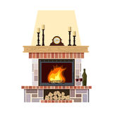 Cozy flaming fireplace. Flaming fireplace in the parlor. Cute and cozy burning hearth with clock, wine bottle and glasses, candlesticks, firewood. For postcards Stock Image