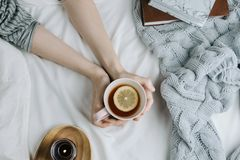 Cozy flatlay of woman`s hand holding lemon tea in bed with white sheets and blanket. Knitted sweater and candle stock photo