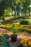 Cozy garden. Beautiful cozy garden in The Eastern Part of The Lower Park in the Peterhof State Museum Preserve Stock Photo