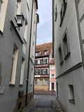 Cozy German town, Fachwerk and cyclist. Bamberg, Germany stock photos