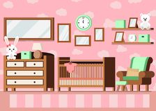 Cozy girl`s baby room interior pink color background royalty free illustration