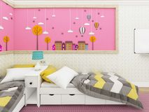 Cozy girl`s bedroom in pink with beds and cute decoration on the wall. 3d rendering royalty free illustration
