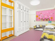 Cozy girl`s bedroom in pink with wardrobe and cute decoration on the wall. 3d rendering. Example of girls room render in Minsk with wooden floor and pink carpet Royalty Free Stock Image