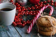 Cozy holiday decor wood background knit bead Stock Photography