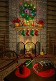 Cozy_holiday_fireplace Stock Photo