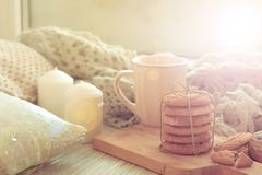 Cozy Breakfast by the window. homemade cookies. Christmas cakes. Still life. Royalty Free Stock Photography