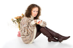 Cozy home girl Stock Photography