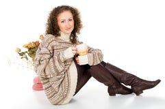 Cozy home girl with a mug of tea Royalty Free Stock Photos