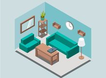Cozy home living-room interior background with book shelves, rack, lamp, plant, armchair, sofa, wall clock, mirror, table, laptop stock illustration
