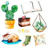 Cozy home set with a home plants,sleeping cute kitten, book,tasty cake,cushion. Watercolor Home collection.Perfect for wallpaper,print,cover design,invitations Royalty Free Stock Photo