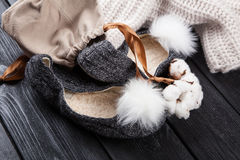 Cozy home slippers Stock Image