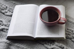 Cozy home still life: cup of hot coffee and opened book with warm plaid on windowsill against snow landscape outside Stock Image