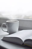 Cozy home still life: cup of hot coffee and opened book on windowsill against snow landscape outside. Winter holidays Royalty Free Stock Photo
