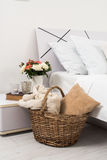 Cozy home white bedroom Stock Images