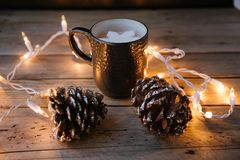 Cozy hot cocoa and Sting of Lights. stock photos