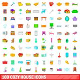 100 cozy house icons set, cartoon style. 100 cozy house icons set in cartoon style for any design illustration vector illustration