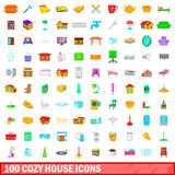 100 cozy house icons set, cartoon style. 100 cozy house icons set in cartoon style for any design vector illustration Royalty Free Stock Images