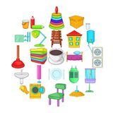 Cozy house icons set, cartoon style. Cozy house icons set. Cartoon set of 25 cozy house vector icons for web isolated on white background royalty free illustration