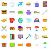 Cozy house icons set, cartoon style Royalty Free Stock Images
