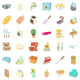 Cozy house icons set, cartoon style Royalty Free Stock Image