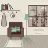 Cozy house interior in flat design style Royalty Free Stock Image