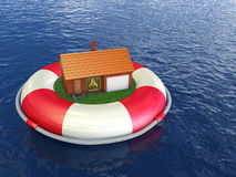 Cozy house on lifebuoys Stock Image
